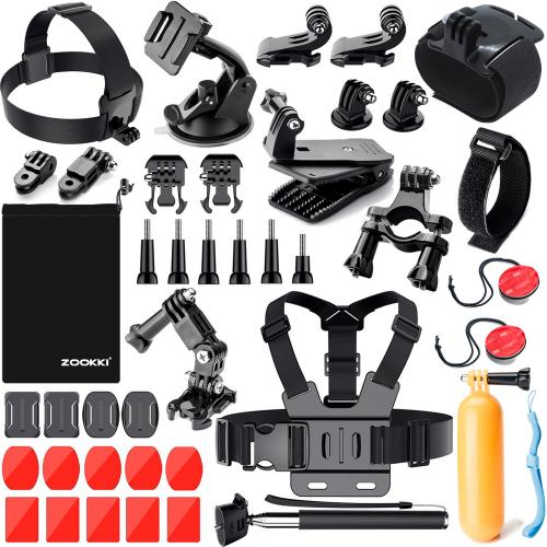 Zookki Sports Accessories Kit for GoPro 6 5 Black 4 Silver Hero 3 Outdoor Action Camera Accessories for SJ4000/SJ5000/SJ5000X/SJ6 LEGEND/SJCAM M20 4K/M10/Xiaomi Yi 4K/WiMiUS
